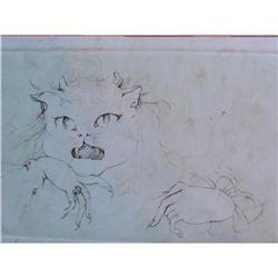 LEONOR FINI H.Sig. Etching French Cat 1976