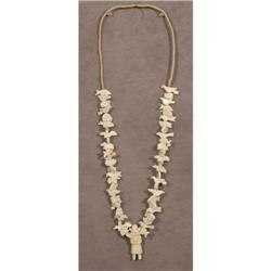 Pueblo Indian carved bone fetish necklace