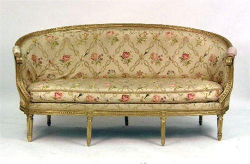 Image 1 A Louis Xvi Style Carved Giltwood Sofa
