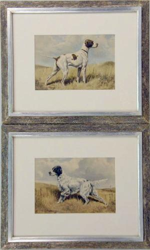TWO FRAMED PRINTS BY EDWIN MEGARGEE OF HUNTING DOGS