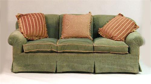 A contemporary green chenille sofa for Green chenille sectional sofa