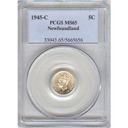 Newfoundland, 5 Cents 1945C, PCGS MS-65