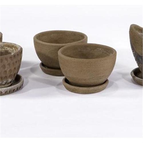 Stan Bitters Pair Of Small Terracotta Planters With Catch Trays