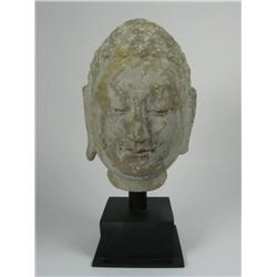 A FINE NORTHERN QI LIMESTONE HEAD OF BUDDHA,