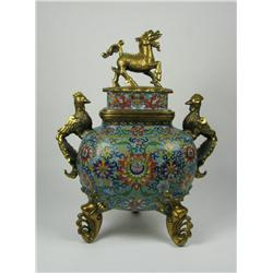 A SUPERB MING DYNASTY CLOISONNE CENSER (Xuand