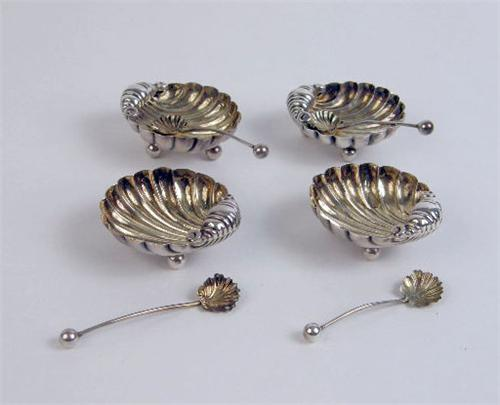 Beautiful Image 1 : A SET OF FOUR ENGLISH STERLING SILVER SHELL FORM SALT CELLARS  WITH ... Nice Ideas