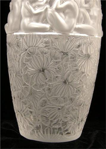 A Monumental Lalique France Frosted Glass Vase Entitled Angelique