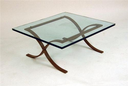 Image 1 A Mies Van Der Rohe Style Steel And Glass Coffee Table