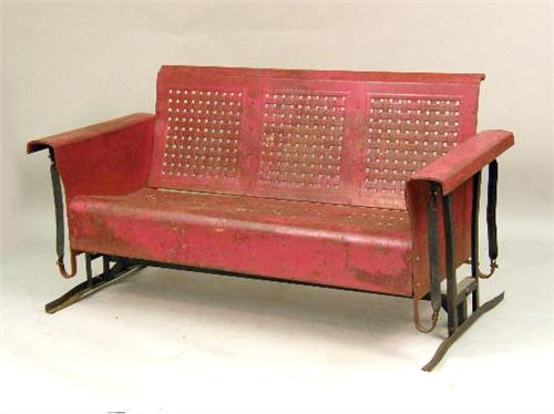 A VINTAGE RED PAINTED METAL PORCH SWING GLIDER. Loading Zoom