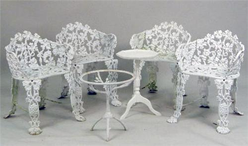 white iron garden furniture. beautiful garden a set of whitepainted cast iron garden furniture loading zoom throughout white iron garden furniture