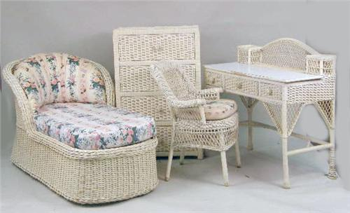 AN ASSEMBLED GROUP OF IVORY-PAINTED WICKER GIRL`S BEDROOM FURNITURE