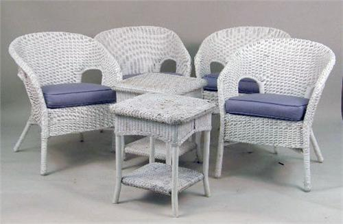 A LARGE GROUP OF WHITE PAINTED WICKER FURNITURE. Loading Zoom