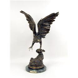 A CAST-BRONZE SCULPTURE,  EAGLE , BY JULES MOIGNIEZ