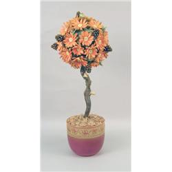 A LIMITED EDITION CONNOISSEUR OF MALVERN  AMBER FALL  BONE CHINA TOPIARY