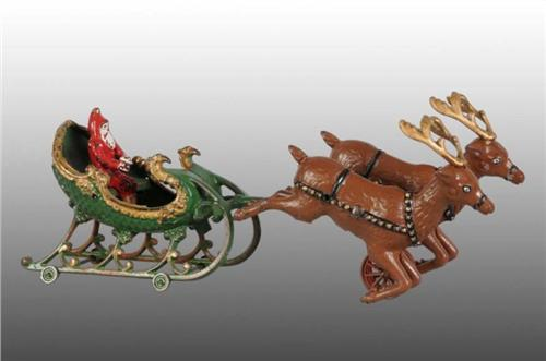 image 1 cast iron hubley santa sleigh toy with 2 reindeer - Reindeer Images 2