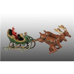 Cast Iron Hubley Santa Sleigh Toy, with 2 Reindeer