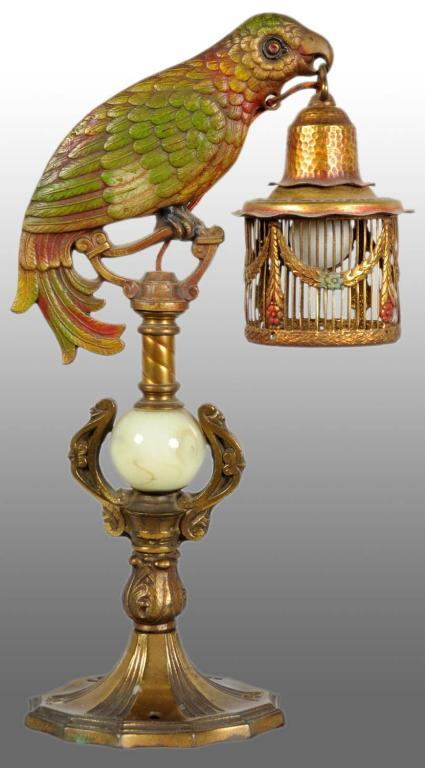 Nice Brass Victorian Parrot Lamp. Loading Zoom
