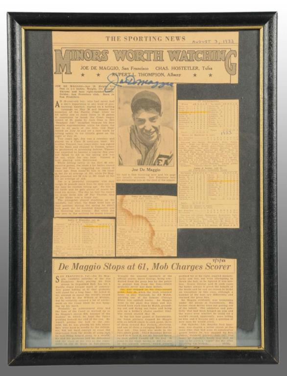 image 1 framed joe dimaggio autographed newspaper article