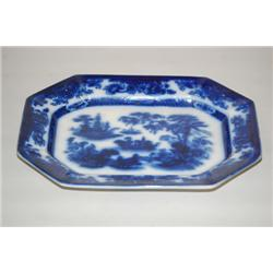 15 1/2  FLOW BLUE IRONSTONE PLATTER - TONQUIN PATTERN FLOW B