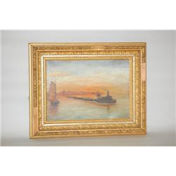 F.G. KIMBALL HARBOR LANDSCAPE PAINTING - 19TH CENT. PAINTING