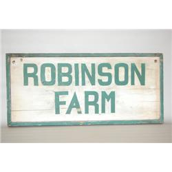 PAINTED TRADE SIGN FOR ROBINSON FARM - EARLY 20TH CENT. PINE