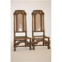 PR. FLEMISH CARVED WILLIAM & MARY STYLE HIGH BACK CANED CHAI