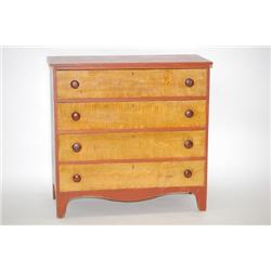 NEW ENGLAND PAINTED COUNTRY HEPPLEWHITE CHEST - RED PAINTED