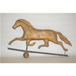 19TH CENT. RUNNING HORSE WEATHERVANE - 28  HOLLOW BODIED COP