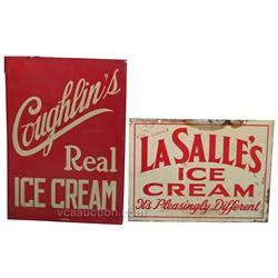 Lot Of 2 Ice Cream Signs:  Coughlin's Real Ice Cream Ti
