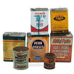 Lot Of 7 Tin Cans:  Texaco Capella Oil Tin Can, Transmi