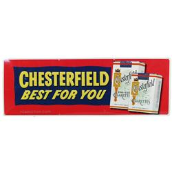 "Chesterfield Cigarettes Embossed Tin Sign - 34"" x 12"""