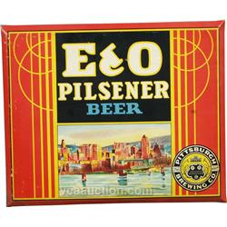 E & O Pilsener Beer Advertising Tin Pittsburgh Brewing