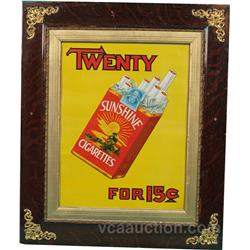 "Sunshine Cigarettes Embossed Tin Sign Framed - 21"" x 25"