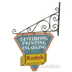 "Kodak 2 Sided Tin Sign w/ Hanging Bracket - 16"" x 17"""
