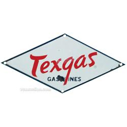 "Texgas Gasolines Porcelain Sign Diamond Shaped - 14"" x"