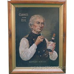 "Large Clarkes Pure Rye Whiskey Sign Framed - 35"" x 46"""