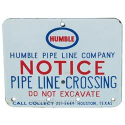 "Humble Pipeline Crossing Porcelain Sign - 10"" x 8"""