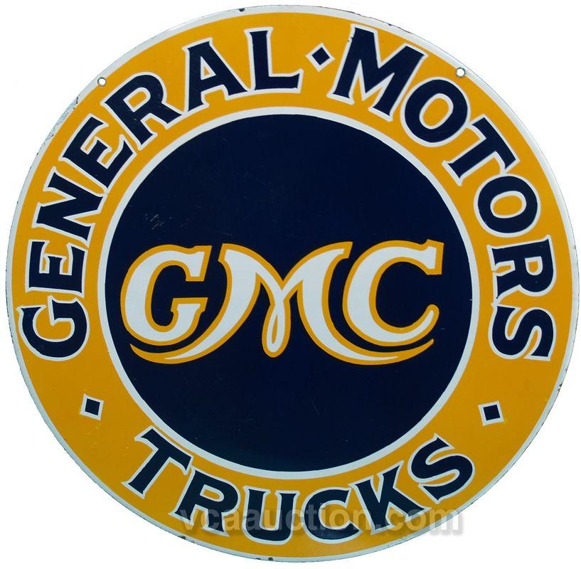 Gmc General Motors Trucks Double Sided Porcelain Sign