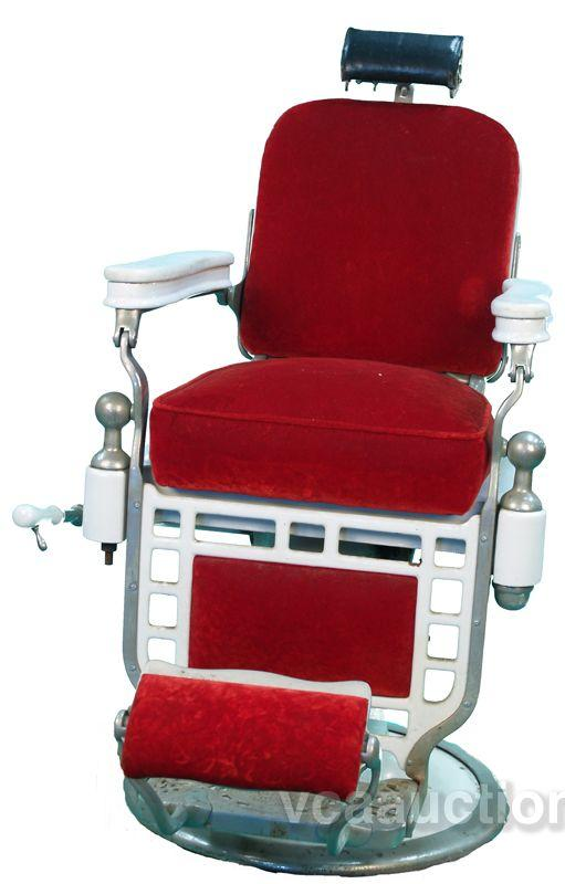 Theo A Kochs Barber Chair, Red U0026 White. Loading Zoom