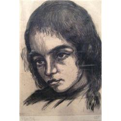 JACOB EISENBERG 1897 - 1966 Jerusalemite Girl Etching Signed. 15X