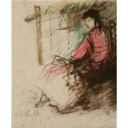 ESTHER PERETZ ARAD 1921 - 2005 A Young Woman Sitting Pastel Signe