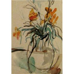 ANNA TICHO 1894 - 1980 Flowers Watercolor Signed. 18X14 cm