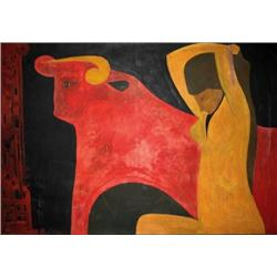 MOSHE VARDI  Woman and Bull, 1969 Oil on canvas Signed and dated.