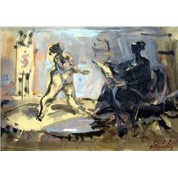 AVINOAM KOSOVSKY - B. 1949 Nude in the Studio Gouache and waterco