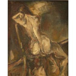 ELIAZ SLONIM - B. 1958 Nude Oil on metal plate Signed. 27X22 cm