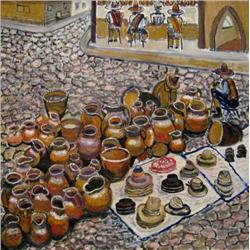 URI YAFFE  The Pots Market in Guatemala, 2005 Oil on canvas Signe
