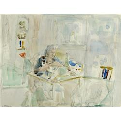 URI STETTNER 1935 - 1999 Interior with a Woman Watercolor Signed.