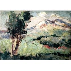 SHMUEL OVADYAHU 1892 - 1963 Landscape Oil on cardboard Signed. 14