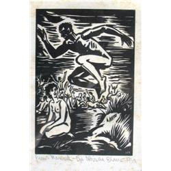 FRANS MASEREEL 1889 - 1971 The Jump, 1939 Woodcut Inscribed Frans