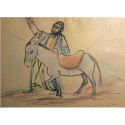 ELYAHU SIGARD 1901 - 1972 Figure with Donkey Wash and crayons Sig